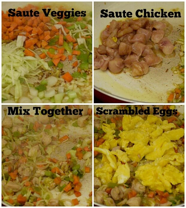 steps to make fried rice - saute veggies,saute chicken,add scrambled eggs