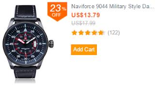 Naviforce 9044 Military Style Date PU Leather Quartz Men Wrist Watch