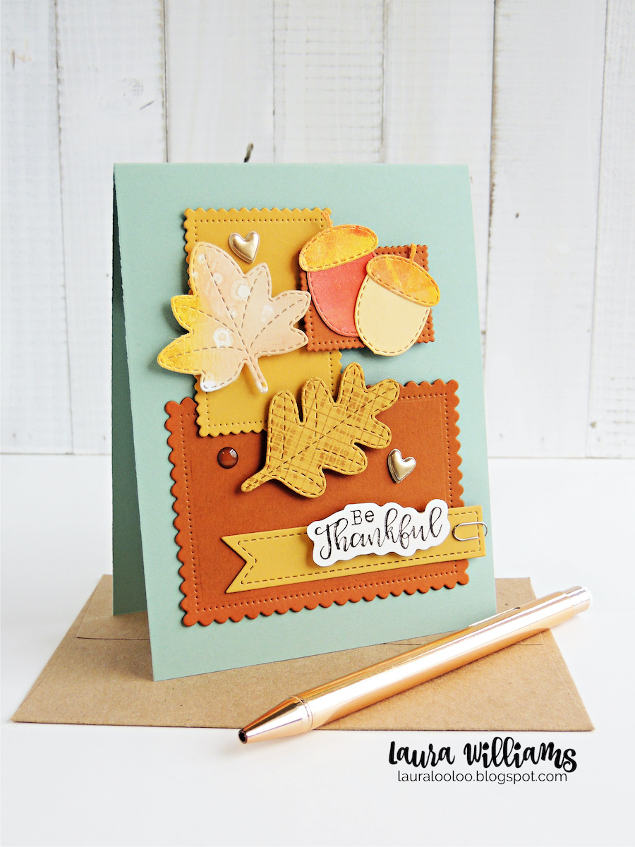Make a fall card using die cut shapes from Impression Obsession.