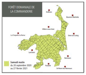 Carte et calendrier des chasses à tir en domaniale de la Commanderie jusqu'en février 2021