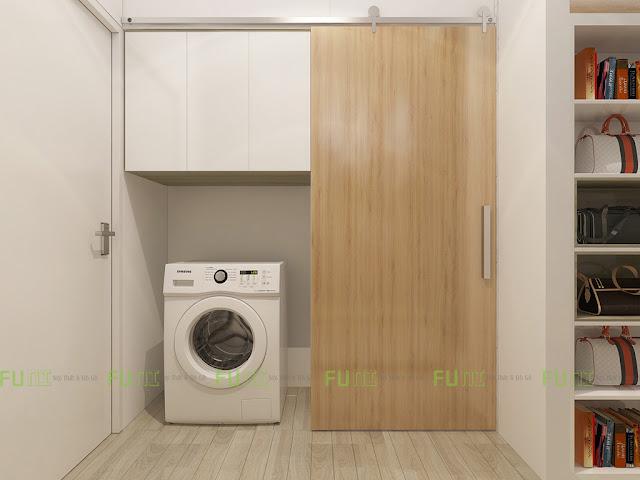 Thiết kế và thi công căn hộ chung cư ~30m2 có gác lửng - Khu giặt đồ