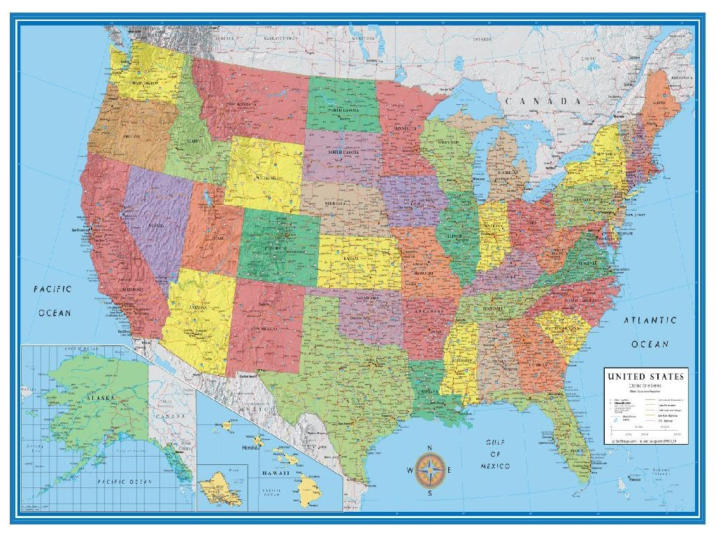 wall map united states