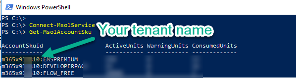 How to find my tenant name using Powershell