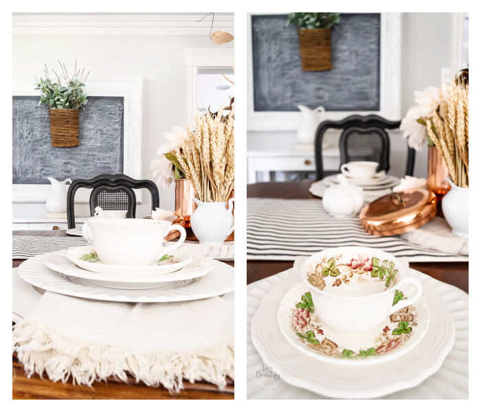 white ironstone, black chairs, vintage dishes and warm golds for fall table