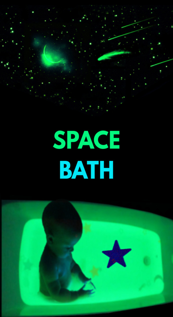 Send kids to outer space, and make their bath water GLOW! #glowinthedark #glowingbathwater #outerspacecraftsforkids #howtomakewaterglow #growingajeweledrose