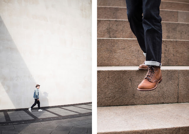 red wing boots and japanese selvedge jeans by albam clothing