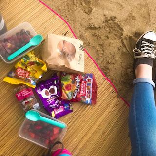 image of food at a beach picnic