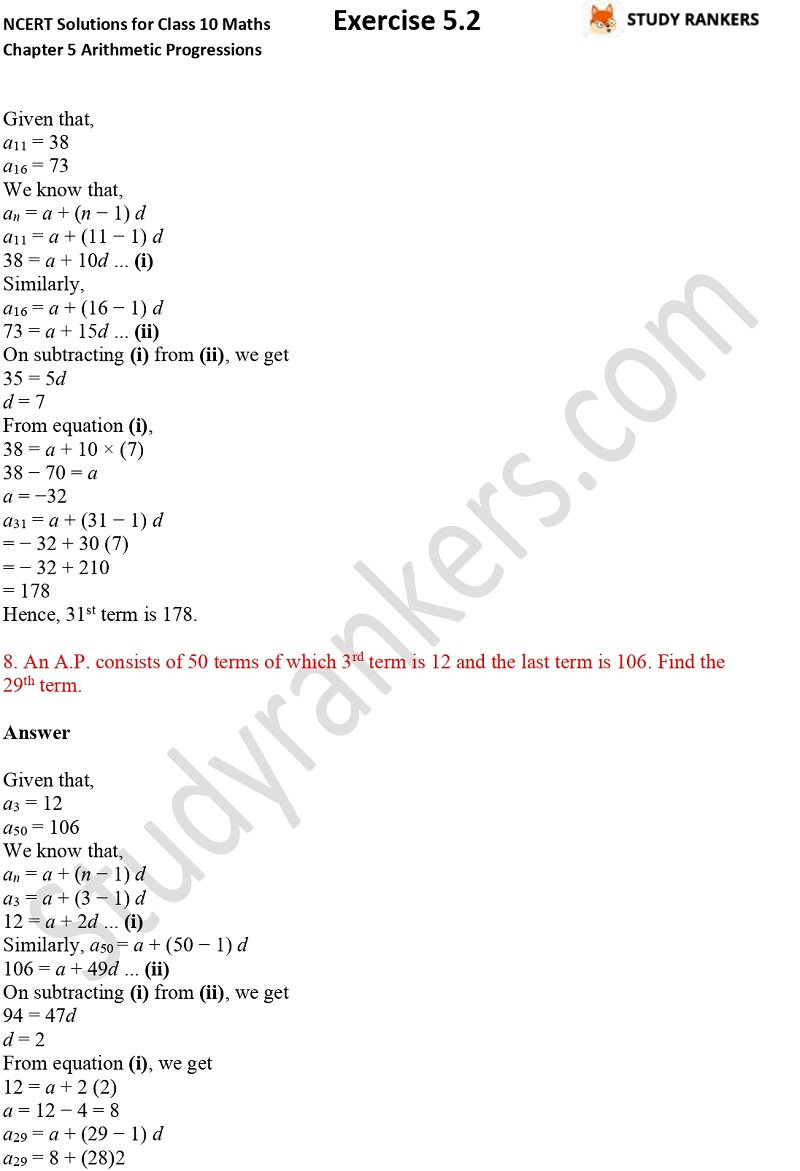 NCERT Solutions for Class 10 Maths Chapter 5 Arithmetic Progressions Exercise 5.2 Part 7