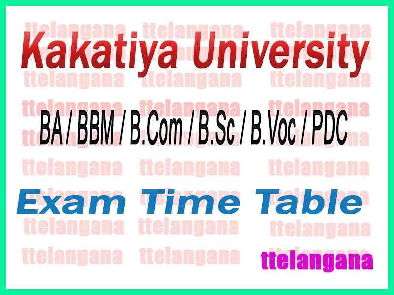 Kakatiya University KU Degree 1st 2nd 3rd Year Regular Supply Time Table