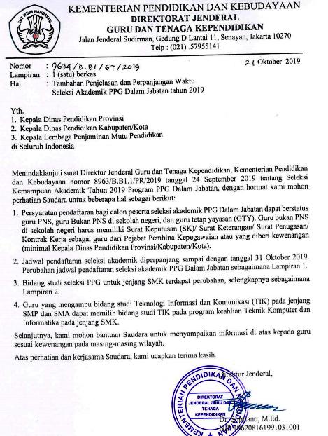 Download Pengumuman Tentang Perpanjangan Waktu Pendaftaran Seleksi Akademik PPG Dalam Jabatan Tahun 2019/2020 I Diperpanjang  Sampai Tanggal 31 Oktober 2019