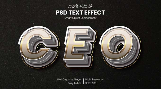 CEO Text Effect PSD Mockup