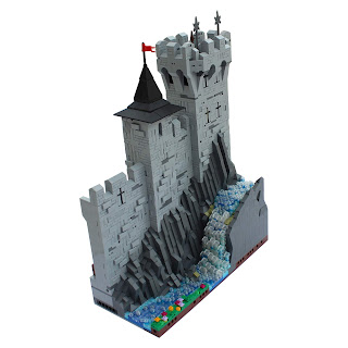 Woodstock Castle Lego MOC Side Section with Waterfall