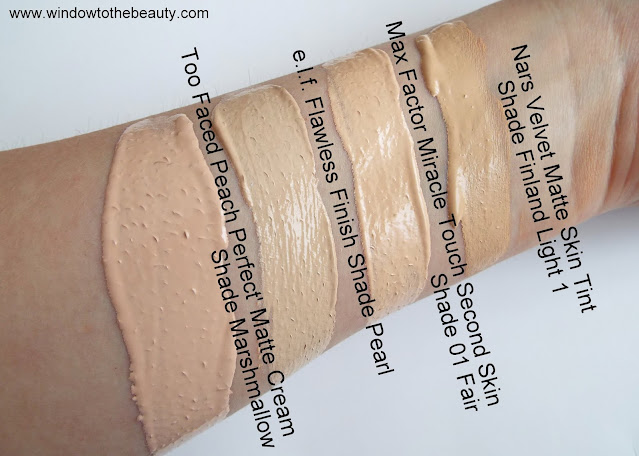 Nars Velvet Matte Skin Tint Shade Finland Light 1 swatches comparison