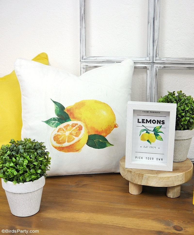 Lemon Themed DIY Modern Farmhouse Decor and Printables - easy craft projects to help you decorate your home or party! by BirdsParty.com @birdsparty #lemon #diy #crafts #lemonfarmhouse #lemondecor #lemonparty #lemondiy #farmhouse #farmhousedecor #farmhouselemondecor