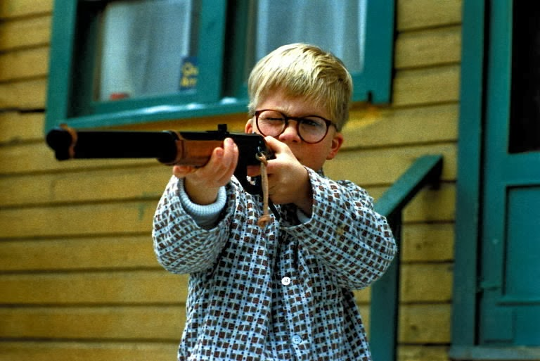 Ralphie takes aim with his Red Ryder BB gun