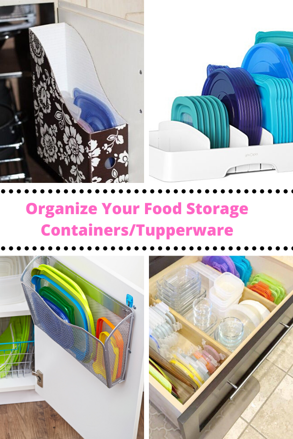 5+ Ways to organize your food storage containers or the Tupperwar cabinet.