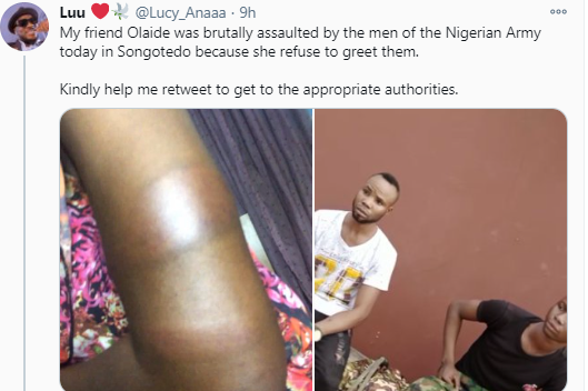 #ArmyAssault: Lady Flogged By Nigerian Army For Not Greeting Them(Video)