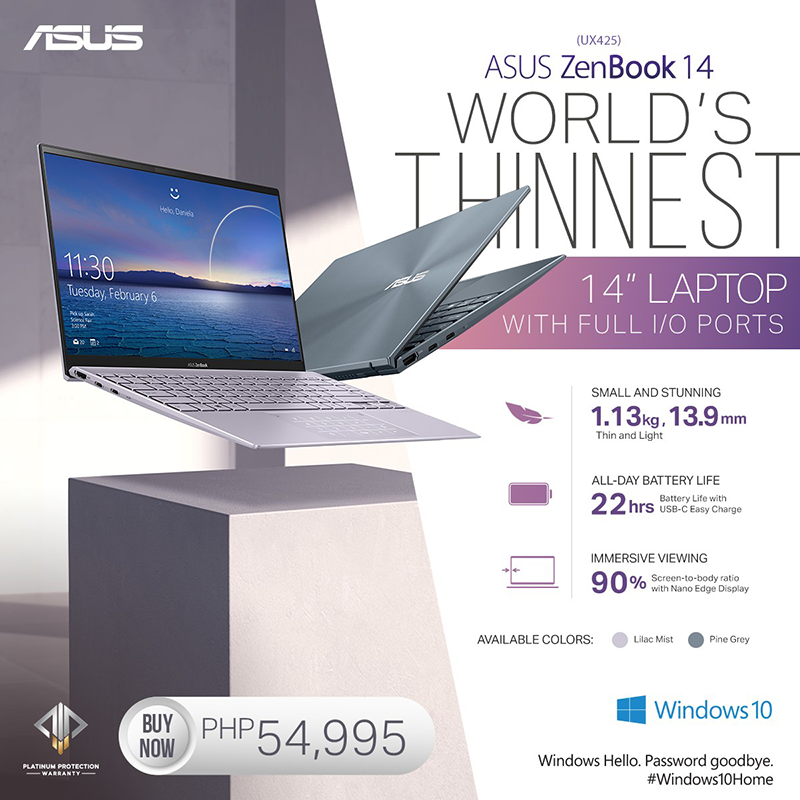 ASUS ZenBook 14 UX425 now available in PH, priced at PHP 54,995