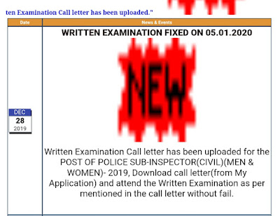 CIVIL POLICE SUB INSPECTOR 200 POSTS ADMIT CARD RELEASED OUT