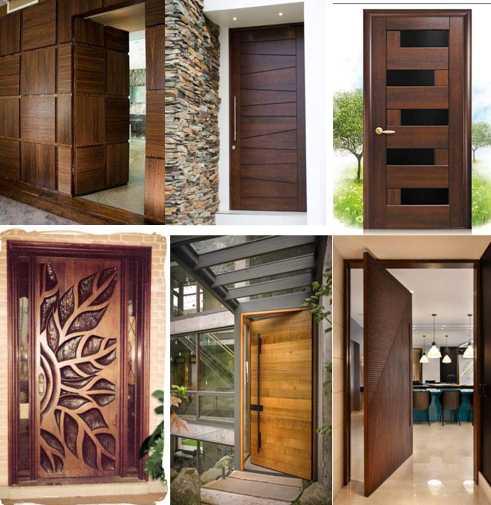 Pintu Rumah Bahan Kayu Jati Tema Minimalis