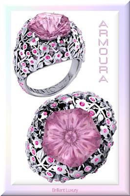 ♦Armoura Hanami cherry blossom pink sapphire cocktail ring #jewelry #armoura #brilliantluxury