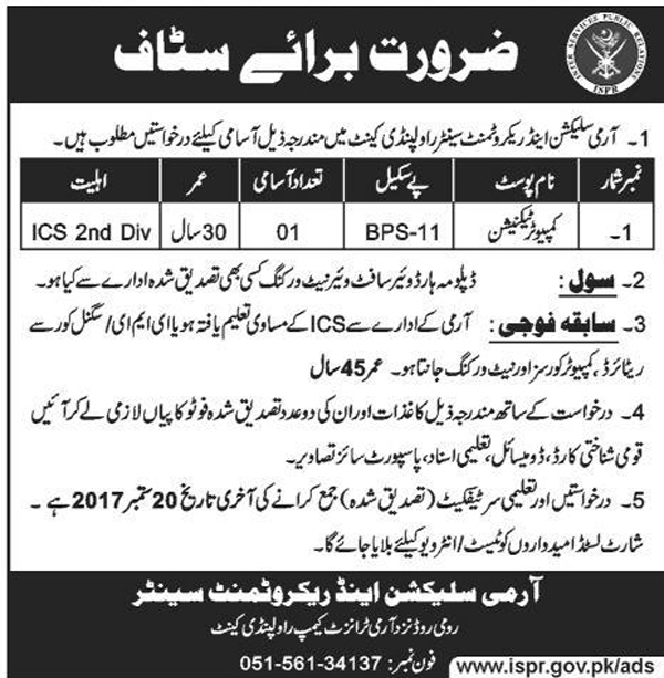Jobs In Pakistan Army Selection Center Rawalpindi Sep 2017
