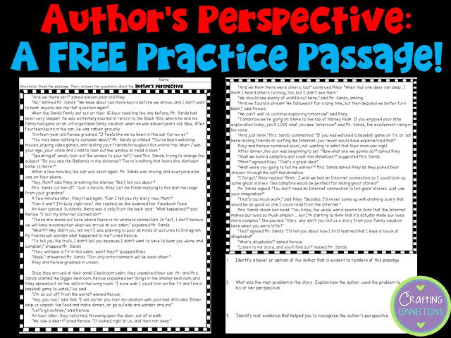 FREE Author's Perspective (Point of View) worksheet! Determine whether your students can identify an author's perspective!