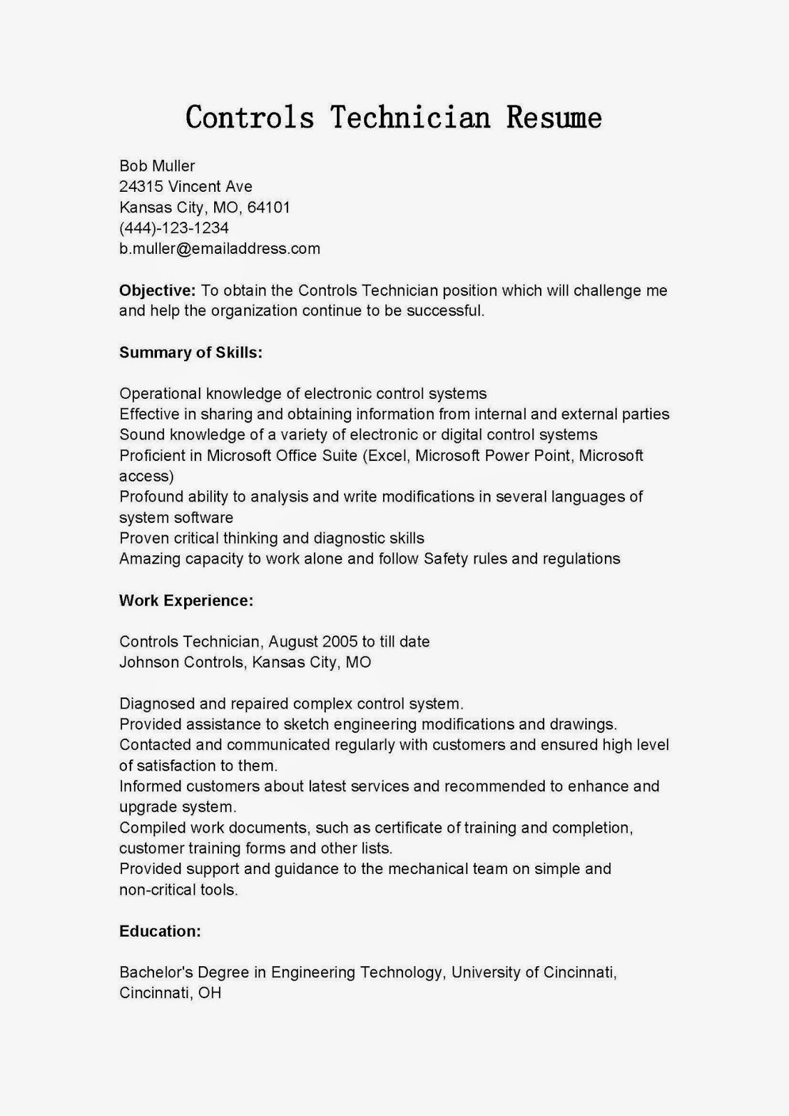 resume samples  controls technician resume sample