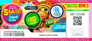 Kerala Lottery Results 07-02-2021 Bhagyamithra BM-3 Lottery Result