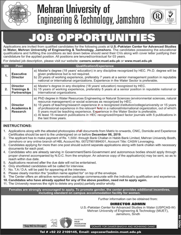 Latest Mehran University of Engineering & Technology Jobs 2019