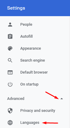 Settings Language in Google Chrome