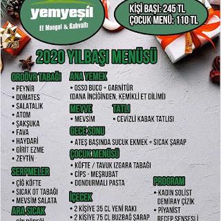 Yemyeşil Et Mangal ve Kahvaltı İzmir Yılbaşı Programı 2020 Menüsü