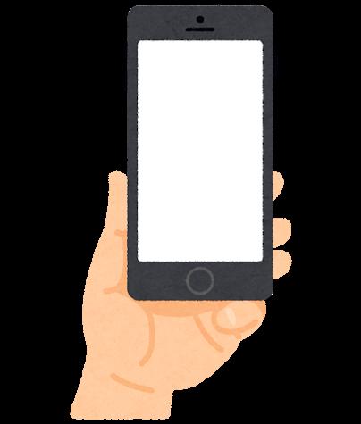 スマートフォンを持つ手のイラスト(小指乗せ)