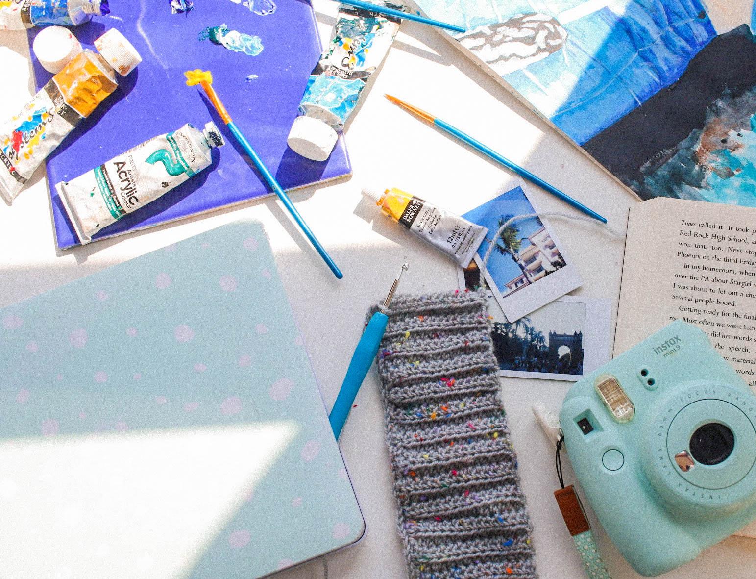 Activities to inspire creativity blog post - paint, art, crochet, writing, flowers