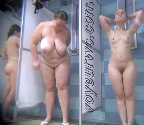 A hidden camera in a public shower films gorgeous women while they soap up their bodies (Hidden Camera Public Shower 347-350)