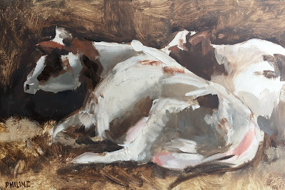 """Roodbont"" Original oil daily painting with cows on a panel 30x20 cm by Philine van der Vegte"