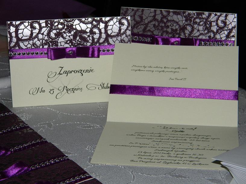 Mała Pracownia Weroniki Zaproszenia Na 25 Rocznicę ślubu