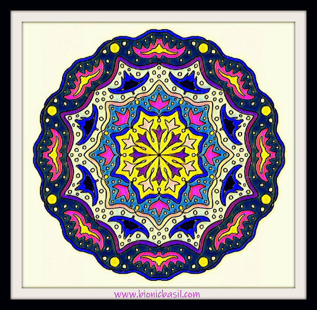 Mandalas on Monday ©BionicBasil® Colouring With Cats Mandala #126 coloured by Cathrine Garnell
