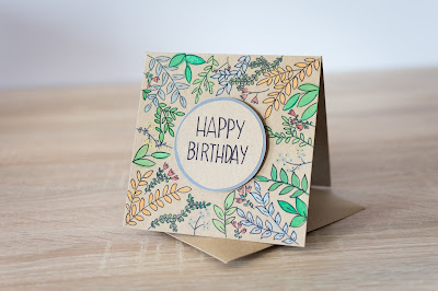 Kartka urodzinowa – liście