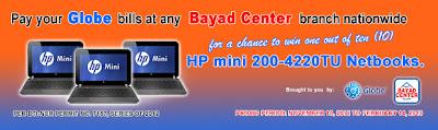 Globe & Bayad Center Promo – Win HP mini 200-4220TU Netbook