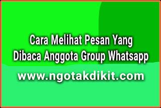 Cara Melihat Pesan Yang Telah Dibaca Anggota Group Whatsapp