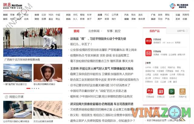 Website 163 lớn tại Trung Quốc