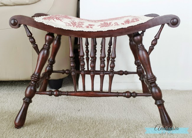 refinished mahogany Victorian seat chair red toile upholstery wood restored