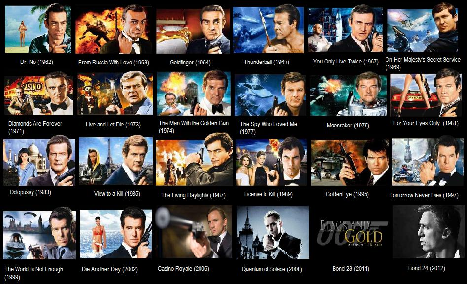 Consider, that james bond movies are