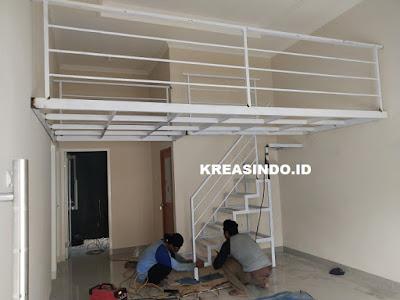 Penampakan Mezzanine Besi pemasangan di Rumah Bu Erisha Bojong Gede Bogor