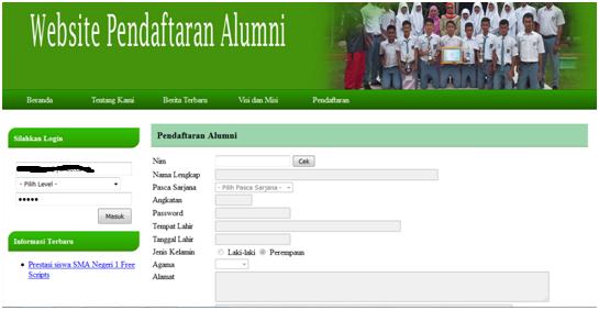 pendaftara, alumni, scripts, php, mysql, scriptsphp, freescript