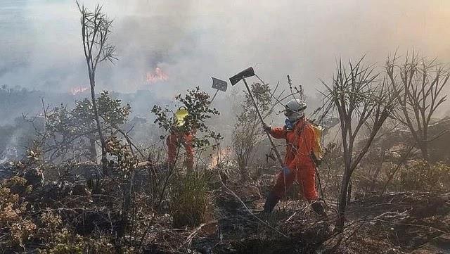 Um incêndio de grandes proporções atinge um trecho de vegetação na Chapada da Diamantina, na Bahia. O fogo abrange parte do território das cidades de Livramento de Nossa Senhora e Rio de Contas, além de uma região limítrofe entre os municípios de Lençóis, Palmeiras e Iraquara.