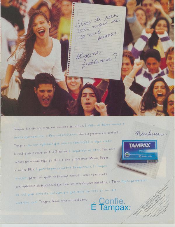 Anúncio veiculado em 1995 promovendo o absorvente interno Tampax