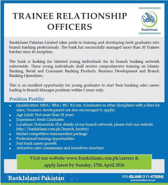 Trainee Officer Jobs in Bank Islami Pakistan for Fresh Masters