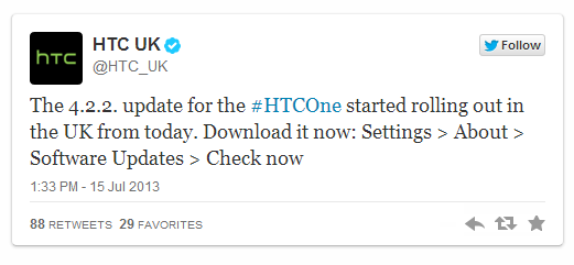HTC One updated to Android 4.2.2 Jelly Bean in UK (unlocked, Orange, 3, Vodafone) and Europe, Asia to follow next week